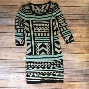 T/O Sweaters Dress Aztec Geometric Print
